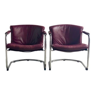 Midcentury Swedish Leather and Chrome Sling Chairs - a Pair For Sale