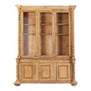 19th Century Country French Pine Barley Twist Bibliotheque Bookcase For Sale