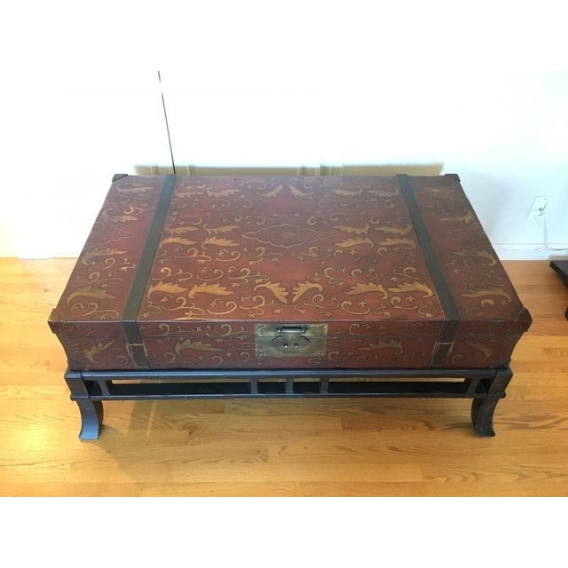 Contemporary Painted Wood Trunk Style Coffee Table - Image 3 of 7
