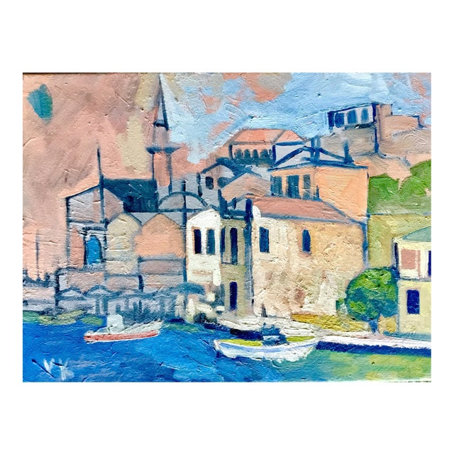 """Mediterranean Harbor"" Original Oil Painting - Image 1 of 3"