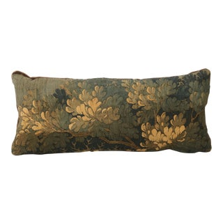 18th Century Down Filled Aubusson Pillow With Mohair Backing.