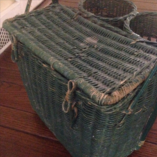 Vintage Green Wicker Picnic Basket - Image 7 of 11