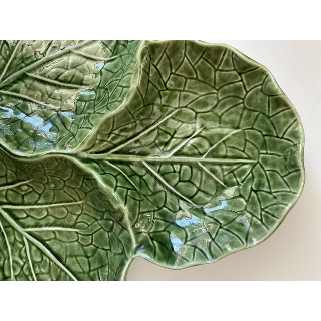 Green Cabbage Leaf 3 Part Serving Platter Made in Portugal For Sale In New York - Image 6 of 11