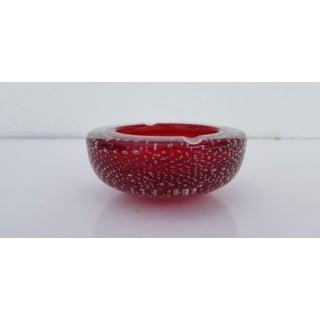 Vintage Italian Handblown Cranberry Murano Glass Ashtray Preview
