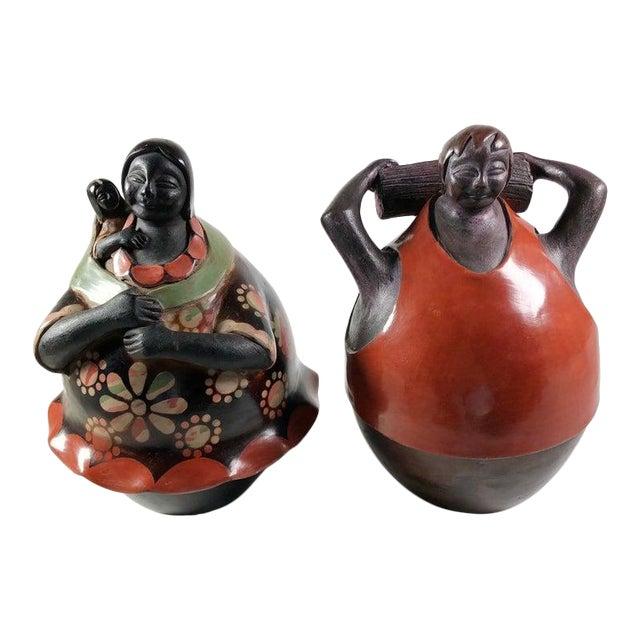 Juan Sandoval Peruvian Folk Art Pottery Figures - a Pair For Sale