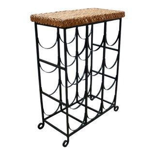 Vintage Iron and Rattan Wine Rack For Sale