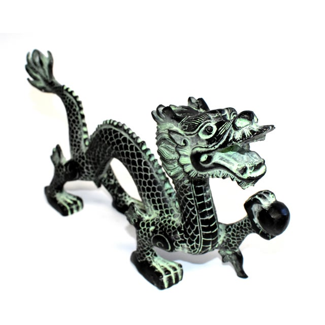 """Black Bronze Dragon With Fire Ball 11.5"""" Wide For Sale - Image 8 of 13"""