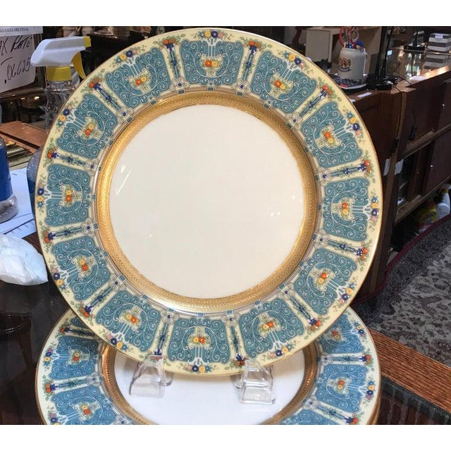 Hand Enameled Blue and Gold Dinner Service Plates - Set of Eleven For Sale In Philadelphia - Image 6 of 12