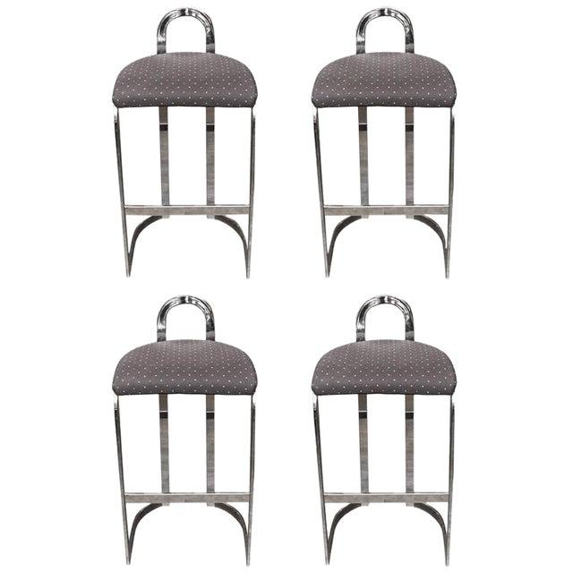 Swaim Designs Chrome Upholstered Bar Stools - Set of 4 - Image 1 of 8