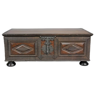 Brazilian Portuguese Colonial Carved Wood Chest For Sale