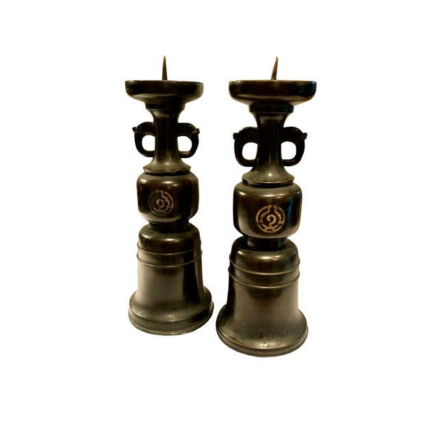 Wood 19th Century Japanese Wooden Candlesticks - a Pair For Sale - Image 7 of 7
