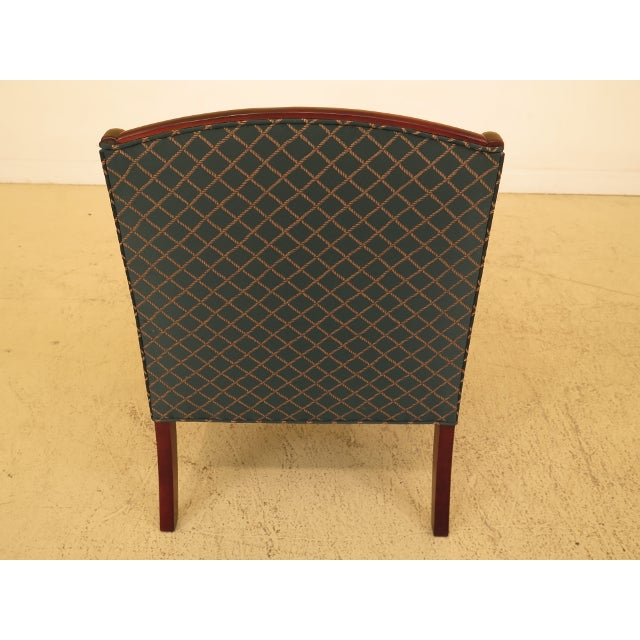 Blue Vintage Thomasville Mahogany Sheraton Upholstered Club Chair For Sale - Image 8 of 11