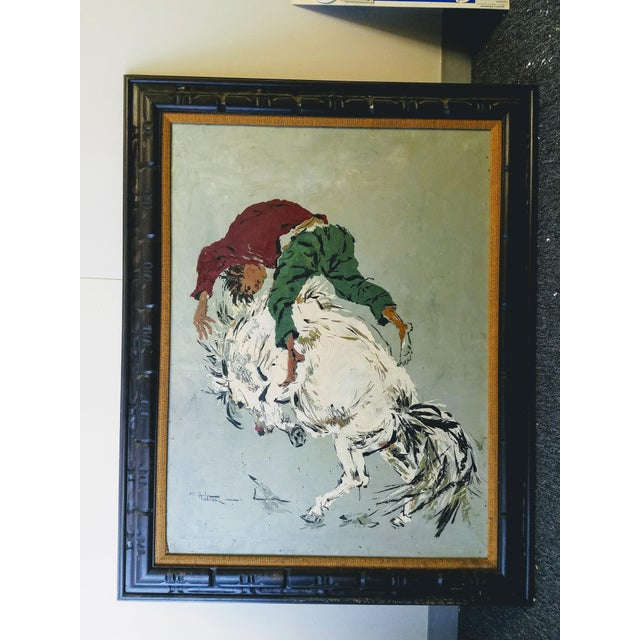 "Large Oil Painting ""Wild Horse Ride"" by Wilton For Sale In Chicago - Image 6 of 6"
