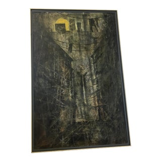 Mid-Century Large Dark Alley Way Signed & Dated Painting For Sale