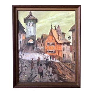 20th Century Expressionist Fauvist Framed Painting of the Bavarian Plonlein in Rothenburg Ob Der Tauber For Sale