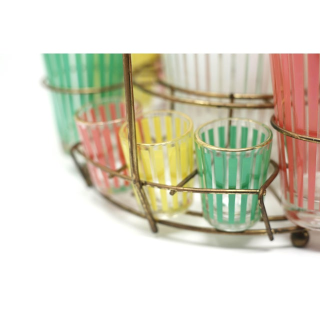 Vintage MCM Pastel Stripes Cocktail and Shot Glasses Barware With Ice Bucket and Brass Caddy - Set of 14 For Sale In Tampa - Image 6 of 13