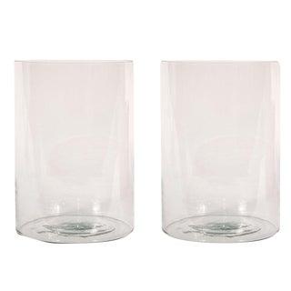 Sarreid Ltd Clear Glass Hurricane Vases - a Pair
