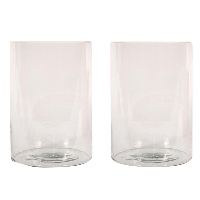Sarreid Ltd Clear Glass Hurricane Vases - a Pair - Image 1 of 2