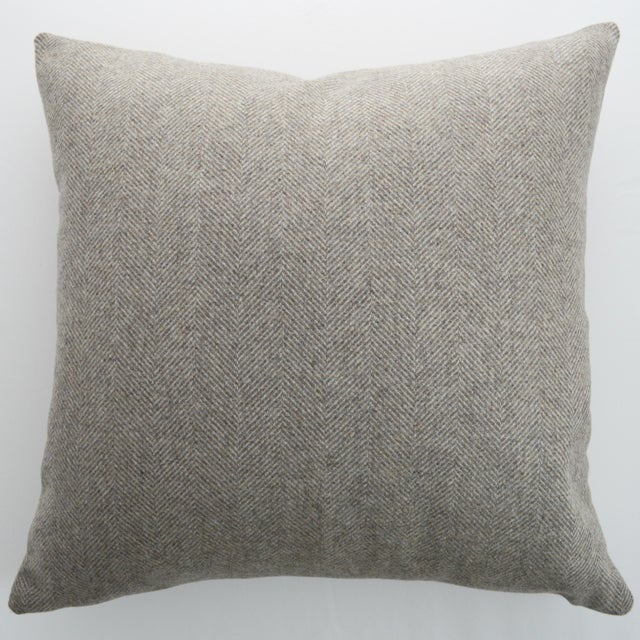 Textile Italian FirmaMenta Eco-Friendly Neutral Herringbone Recycled Wool Pillow For Sale - Image 7 of 7