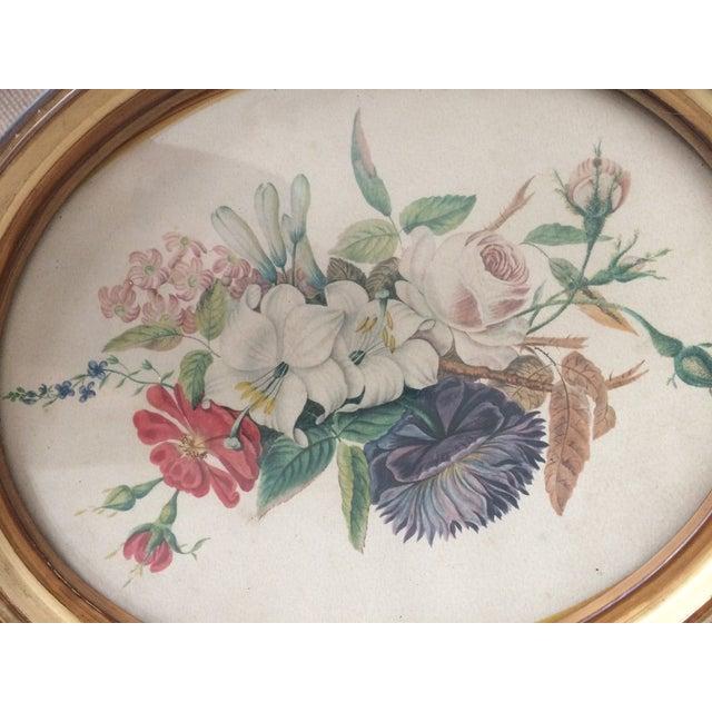 Green Vintage Oval Framed Floral Art For Sale - Image 8 of 8