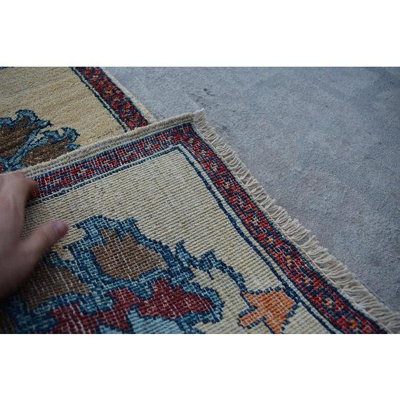 Traditional Turkoman Hand-Knotted Tan Wool Rug For Sale - Image 4 of 5