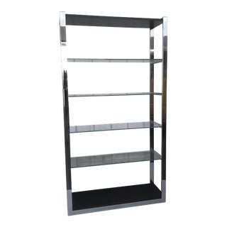 Vintage Modern Chrome Display Shelf For Sale