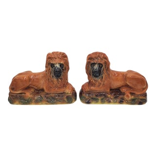 Antique Late 19th Century Staffordshire Lions - a Pair For Sale