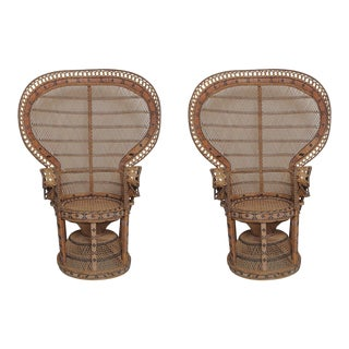 Peacock Vintage Rattan Chairs - A Pair For Sale