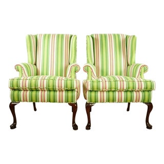 Green Stripe Upholstered Wingback Armchairs - a Pair For Sale