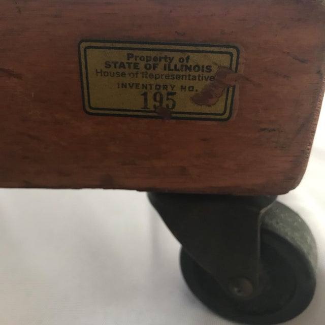 Vintage Mid Century B L Marble Company Illinois House of Representatives Leather Lawyer Judge Chair For Sale - Image 11 of 13