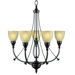 Oil Rubbed Bronze 5-Light Chandelier For Sale