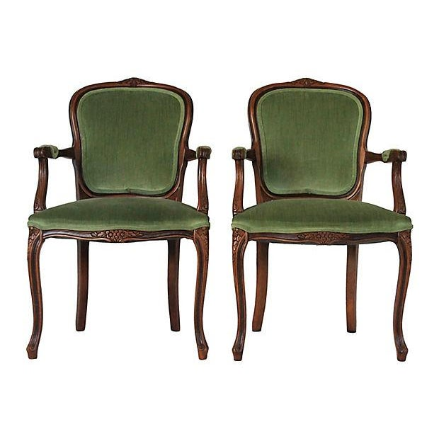 Upholstered Green Fauteuils - Pair - Image 1 of 10