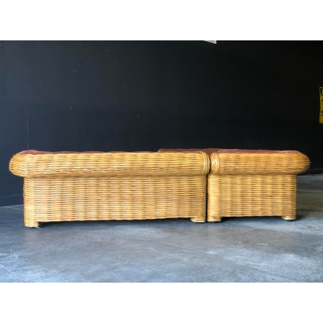 Rattan 4 Piece Modular Sofa For Sale In New York - Image 6 of 13