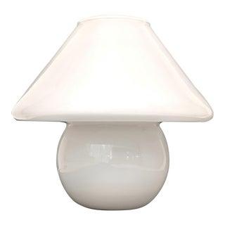 1970s Conran's White Opaque Art Glass Mushroom Table Lamp For Sale