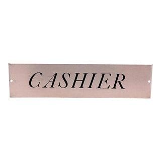 Vintage Metal Cashier Sign For Sale