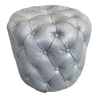 Tufted Leather Buttoned Up Stool With Wood Legs For Sale
