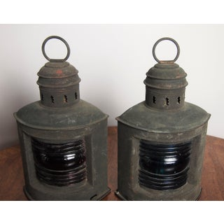 Pair of Antique Copper Nautical Lanterns Preview