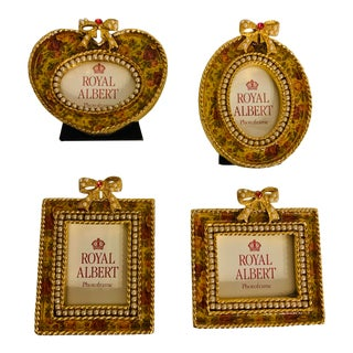 1980s Royal Albert Jeweled Petite Photo Frames - Set of 4 For Sale