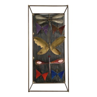 Vintage Mixed Metal Enameled Dragonfly + Butterfly Wall Hanging For Sale