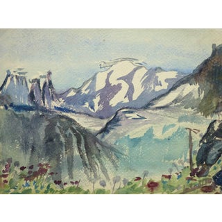 Vintage French Watercolor Landscape - Wintry Mountain Range Overlooking Meadow For Sale