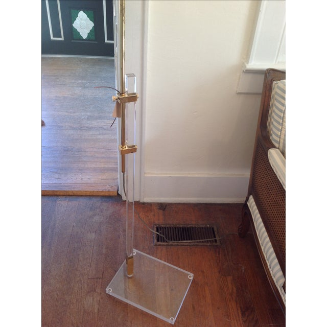 Vintage Lucite and Brass Floor Lamp - Image 3 of 5