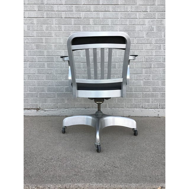 Metal Vintage Emeco Rolling Office Chair For Sale - Image 7 of 13