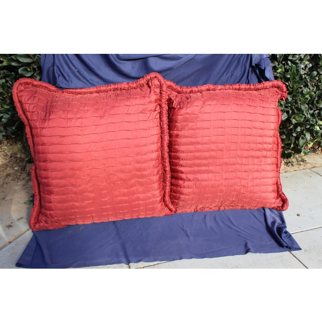 Late 20th Century Pr. Of Contemporary Ox Blood Colored Down Filled Pillows For Sale - Image 5 of 5