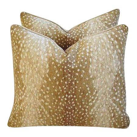 "Custom Tailored Antelope Fawn Spot Velvet Feather Down Pillows 21"" X 18"" - Pair For Sale"