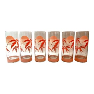 Vintage Panache Pink Palm Tree Tall Glasses- Set of 6 For Sale
