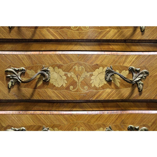 French Louis XV Style Inlaid Kingwood Marble Top Lingerie Chests - Pair For Sale In Charlotte - Image 6 of 13