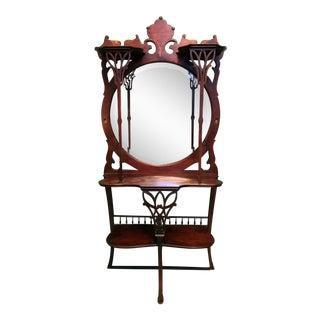 Art Nouveau Round Mirror Table Console
