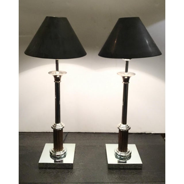 Traditional Classical Vintage Industrial Metal Bloomingdale's Table Lamps Pair For Sale - Image 3 of 9