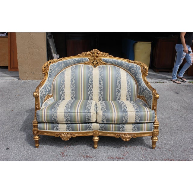 Beautiful French Louis XVI Style Giltwood Loveseat or Settees circa 1940s,The frame was handmade of heavy solid mahogany...