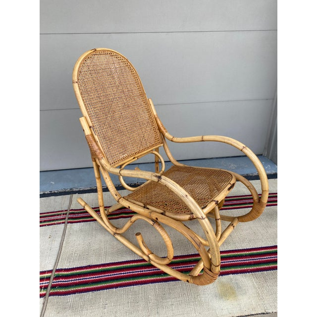 Vintage Mid Century Modern Tiki Bent Bamboo Wood Rocking Chair For Sale - Image 11 of 13